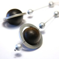Rings of Saturn - Planet Earrings - Eco Friendly Earring - made from computer hard drive spacer rings - Brown Silver Gray - Long Dangle