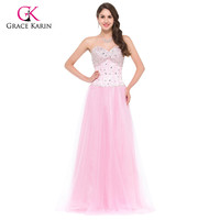 Long Evening Dresses Grace Karin White Blue Pink Women Corset-style  Elegant Prom dinner Party Formal Gowns 3519