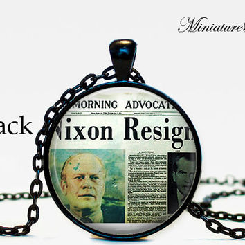 Vintage newspaper article Political Necklace Pendant President Nixon takes office  gift for him for her for men fantay silver geekery gift