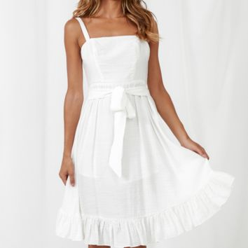 Summer New Fashion Solid Color Straps Dress Women White