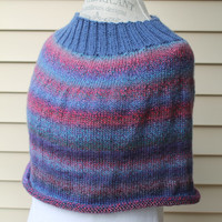 Blue Poncho Sweater - Knit Blue and Pinks Variegated Wrap - Womens Poncho - Winter Wrap