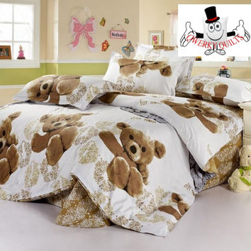 Brown Teddy Bear Bedding Set and Quilt Cover