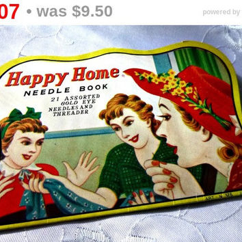SALE 1940s Sewing Needle Book Ephemera, Vintage Needle Card Collectible, Happy Home Homemaker Crafting Sewing Supplies Notions, Japan Art
