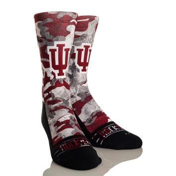 Rock 'Em Elite, Indiana Hoosiers Camo, Licensed Crew Socks