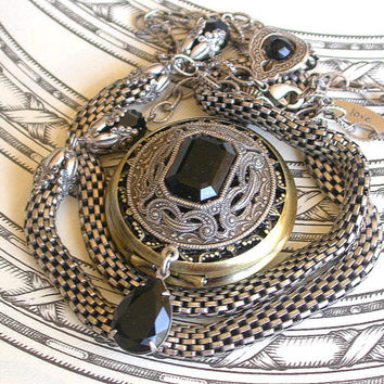 Gothic Steampunk Pocket Watch Necklace Pendant on Mesh Chain with Jet Black Swaroski  Crystals Vintage Style Victorian Locket Jewelry
