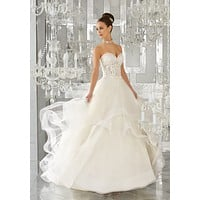 Blu by Morilee 5570 Mindy Strapless Lace Ruffle Tulle Ball Gown Wedding Dress