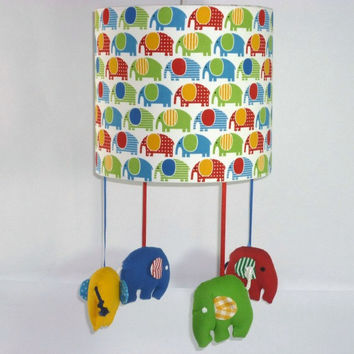 Elephant nursery lampshade - Bright and colourful room theme - Jungle Nursery - Unique gift for baby shower, first birthday, new moms
