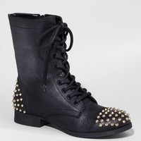 STUD EMBELLISHED LEATHER TROOPER BOOT at Express