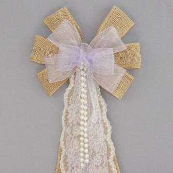Lavender Sheer Burlap Lace Pearl Wedding Pew Bow