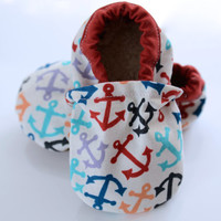 Colorful Anchors Bootie, Walker Shoes, Modern, Anchors, Rainbow, Colorful, Baby, Infant, Toddler, Walker shoes, Bootie, Walker, Unisex
