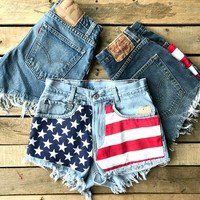 Our Stars In My Eyes Vintage Denim Shorts will have you feeling patriotic this Summer! They're handmade custom denim shorts with vintage look and slightly high waisted. Frayed hems as well.