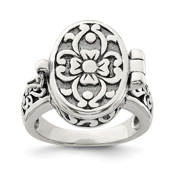 925 Sterling Silver Antique Locket Ring