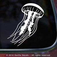JELLYFISH Sea Nettles Fish Aquarium Vinyl Decal Bumper Sticker Laptop Car Window Sign in colors: White, Black or Pink