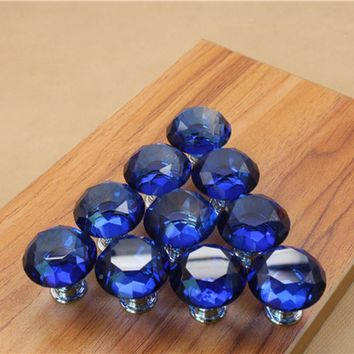 Free shipping 25mm Diamond Crystal Cupboard Cabinet Dresser Drawer Wardrobe Door Knob Pull Handle home decor Brand New