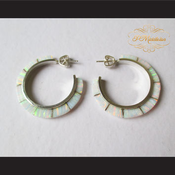 P Middleton Opal Hoop Earrings Sterling Silver .925