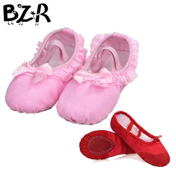 Bazzery Ballet Dance Dancing Shoes Pointe For Children Lace Girls Women Soft Flats Shoes Breathable Slippers Size 26 to 40