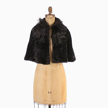 Vintage VICTORIAN CAPE / Black Mohair Velvet Soutache Embroidered Fur Trim Cropped Capelet