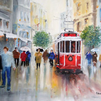 Original Oil Painting, Street, Tram, Istanbul Turkey, Oil Painting