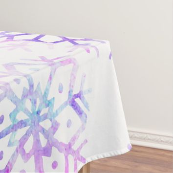 Purple Watercolor Snowflake Christmas Design Tablecloth