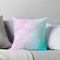 'Pastel Motion Vibes - Pink and Turquoise' Throw Pillow by Dominiquevari