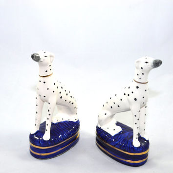 Dalmatian Dog Bookends Fitz and Floyd Dalmatian Bookends Whippets Greyhounds Ceramic Dog Figurines Ceramic Book Ends Vintage Fitz and Floyd
