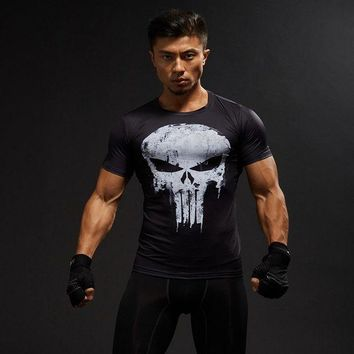 LMFLD1 Punisher Compression Shirt Mens Tops Skulls 3D Digital Printed Tight Fitness T-shirt Shipping in united states