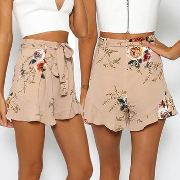 Women Sexy Skirt Summer Print Short Pants Hip Hop Pants High Waist Type Drawstring Lotus Leaf Side Embroidery shorts feminino