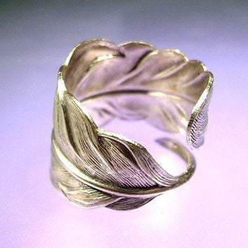 Large Fine Silver feather ring