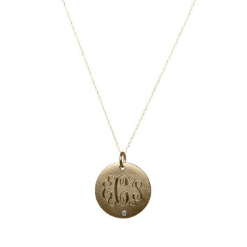 Medium Antiqued Gold Vermeil Disc With Initials And Diamond Necklace