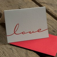 Ladybug Press: Letterpress Love Card & Envelope