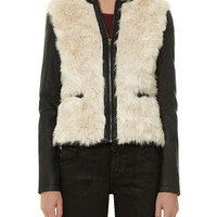 Long Sleeve Leather Fur Embroidered Coat