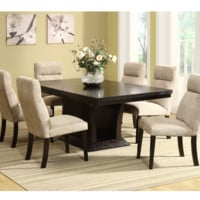 7 Piece Wood Veneer Dining Table Set