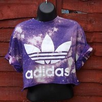 diy cropped acid wash adidas  t shirt  grunge  size medium from mysticclothing
