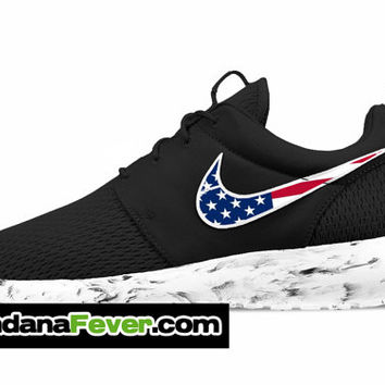 "Nike ""Distressed American Flag"" Roshe Run Men's Black/Anthracite/White Swoosh + FREE SHIPPING - by Bandana Fever"