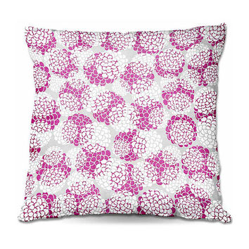 Raspberry Hydrangeas Throw Pillow – 3 Sizes Available