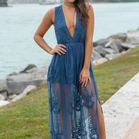 Teal Lace Sleeveless Maxi Romper