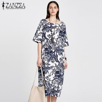 ZANZEA Bohemian  Womens Floral Printed Short Sleeve Cotton Linen Maxi Long Dress Loose Baggy Boho Casual Kaftan Tunic Plus Size
