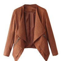 Camel Faux Suede Long Sleeve Slim Blazer