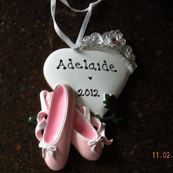 personalized ballet slipper ornament with glitter crown