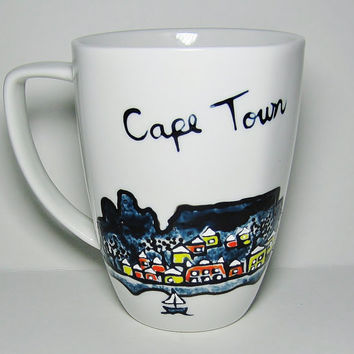 Long Distance Relationship, Valentine's Day Gift, State to State Mug, Customized Love Mug, Skyline Cape Town, South Africa
