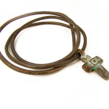 Green Patina Necklace, Copper Cross Patina Pendant, Aged Gross Pendant Necklace