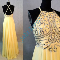 Beautiful Yellow Scoop Neckline Backless Prom Dresses 2015,Stunning Crystal Beaded Prom Dresses,Chiffon Party Dresses,Homecoming Dresses