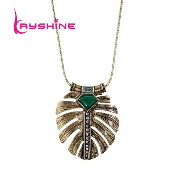 Kayshine New Costume Jewelry Necklace Long Bronze Chain Green Stone Feather Shape Pendant Necklace For Women Collier Femme