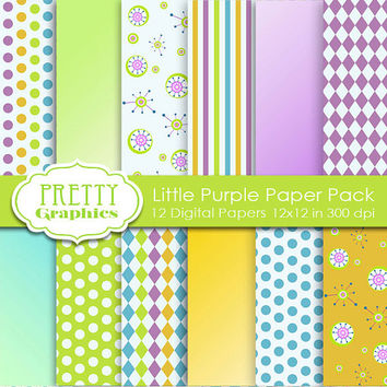 DIGITAL PAPERS - Little Purple Paper Pack - Commercial Use - 12x12 JPG Files -Printable Papers- Scrapbook Papers - High Quality 300 dpi