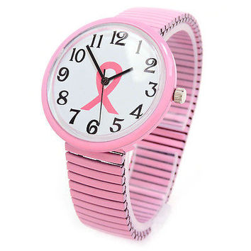 Pink Ribbon Breast Cancer Large Size Women's Stretch Watch