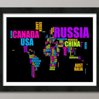Typographic Text Map of the World Map Art Print on Etsy by artPause