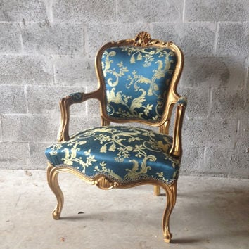 French Blue Chair Antique Louis XVI Small Fauteuil Chair ArmRest Gold Leaf Refinished Gild Royal Blue Damask New Fabric Rococo Baroque