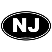New Jersey NJ Euro Oval Sticker BLACK