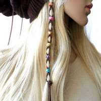 Multi-Color Bead Brown Suede Leather Ceramic Bead Hair Ties, Hair Wrap, Jewelry, Ponytail, Leather Bead Braided Hair Ties