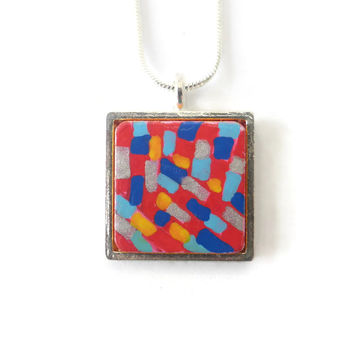 Red and Blue Hand Painted Square Necklace